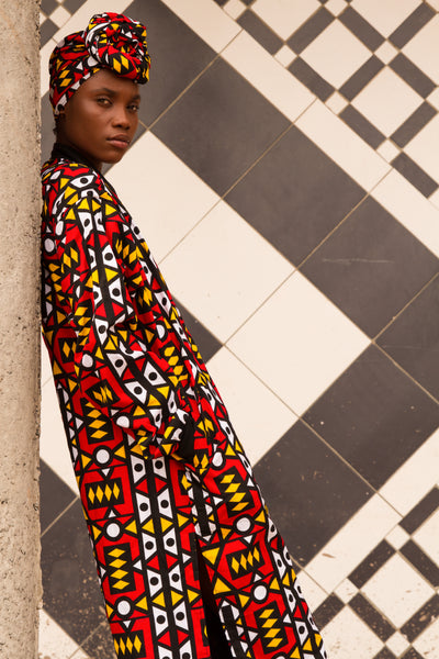 African Summer Coat / Festival Coat in Electric Red