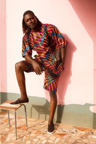 African matching set in wow print