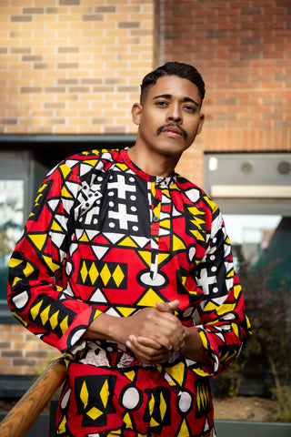 African Shirt in Electric red Samakaka