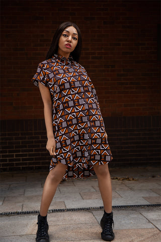 African Dress / African Shirt Dress in Mud Cloth