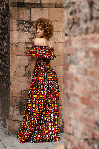 African Dress In Electric Red Samakaka / African Maxi Dress