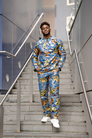 African outfit, African shirt in gold blue Ankara print