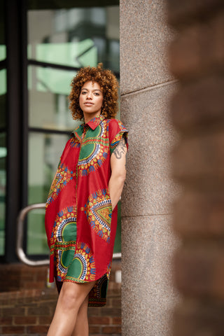 African Dress In Red Dashiki