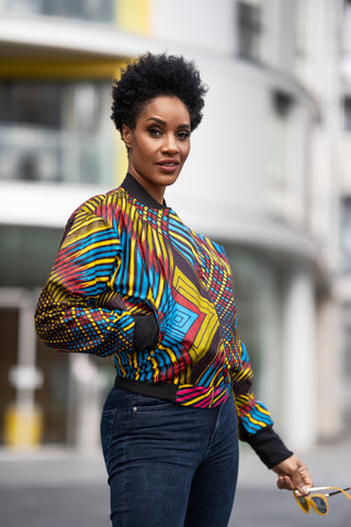 African bomber jacket in wow print