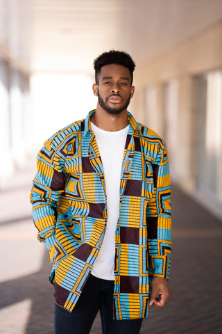 African Oversized Shirt In Electric Blue Kente