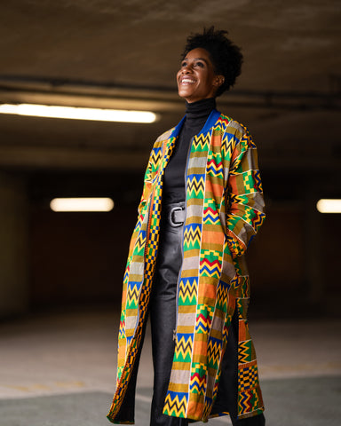 African Clothing: Kente Winter Trench Coat