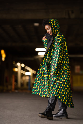 African Print Military Trench Coat