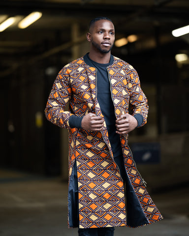 African Clothing - African Trench Coat In Orange
