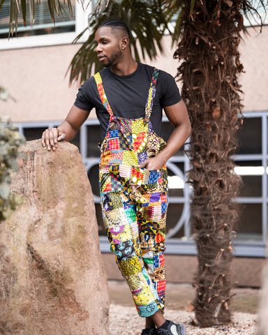 African Clothing - African Print Patchwork Dungarees