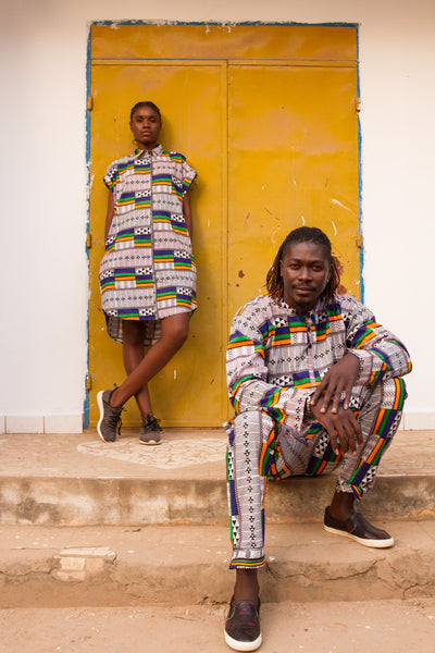 African Dress and African Suit in White Kente / Festival Outfits 2021