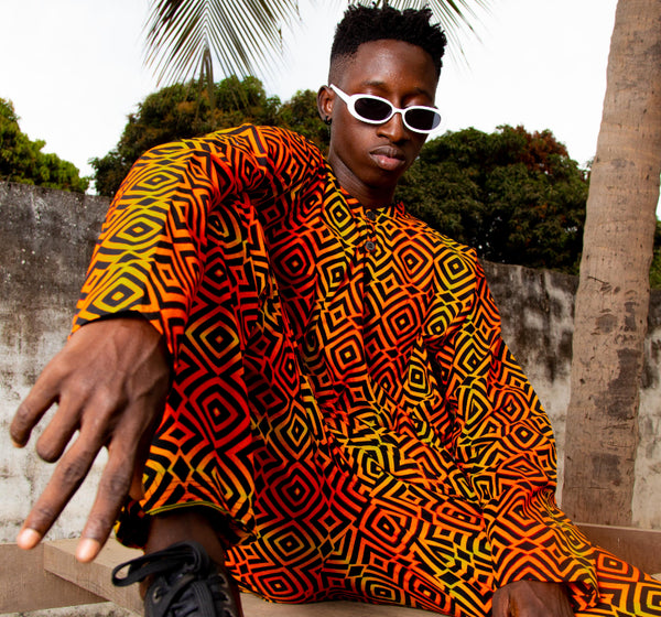 African Suit In Electric Orange / Festival Outfit made in Africa