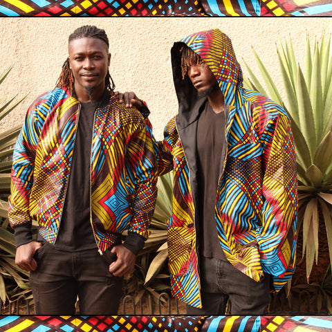 African Jackets / Bomber Jacket and Hoodie In Multicoloured Print