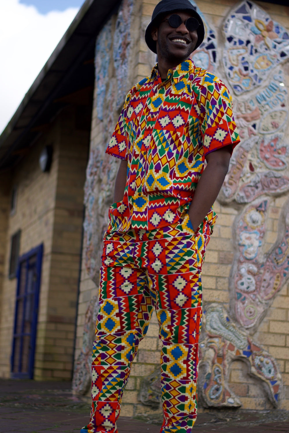 African Kente Suit Short Sleeve in Orange African Print - Festival Outfit - Continent Clothing