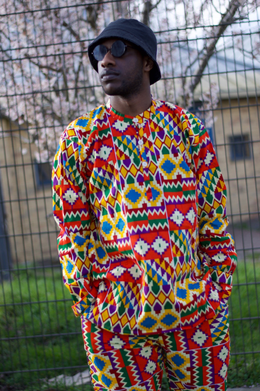 African Kente Suit in Orange African Print - Festival Outfit - Continent Clothing