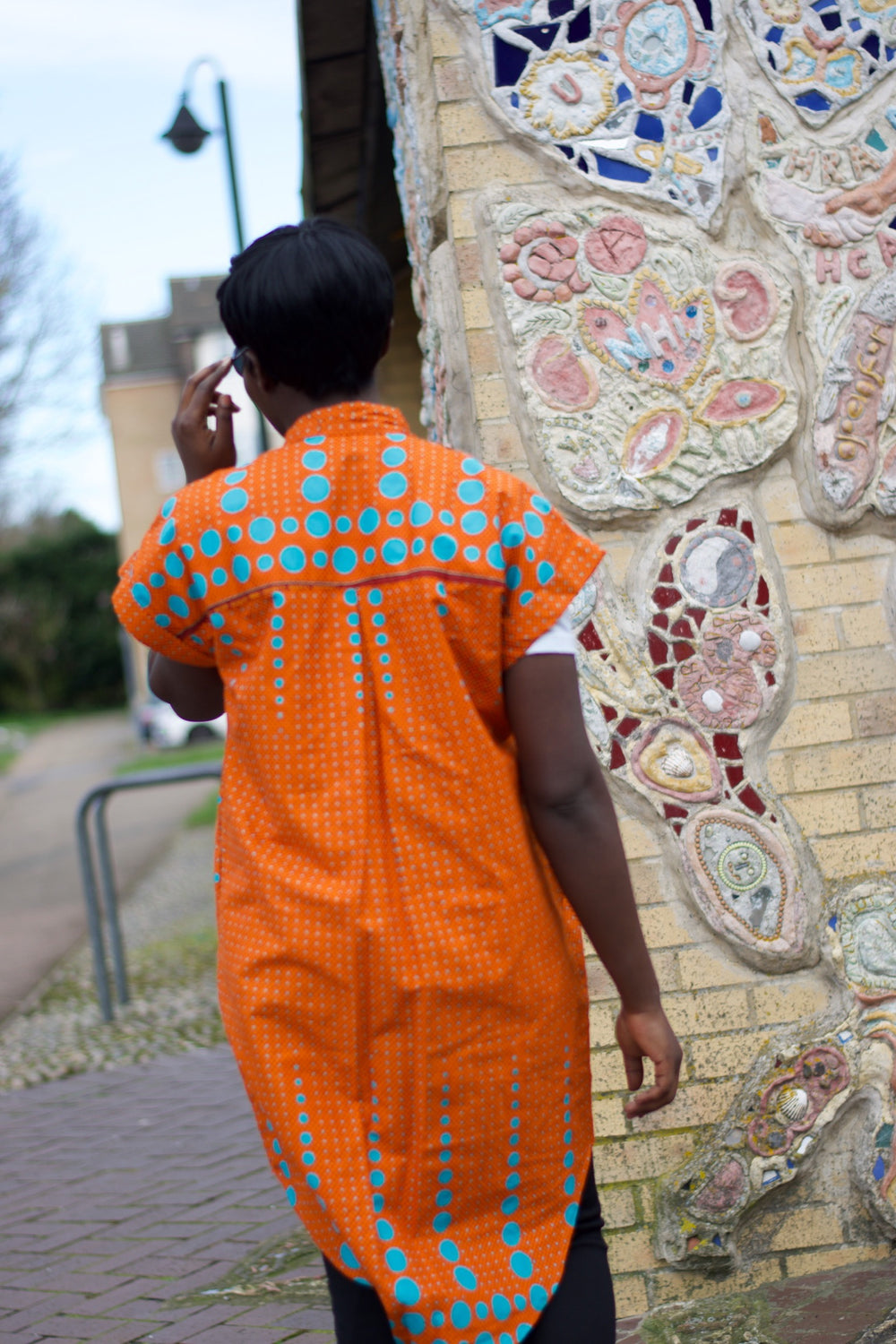 African Dress in Orange Ankara Print - Festival Dress - Continent Clothing