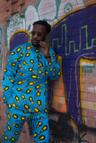 Matching African Outfit In Blue Ankara - Continent Clothing
