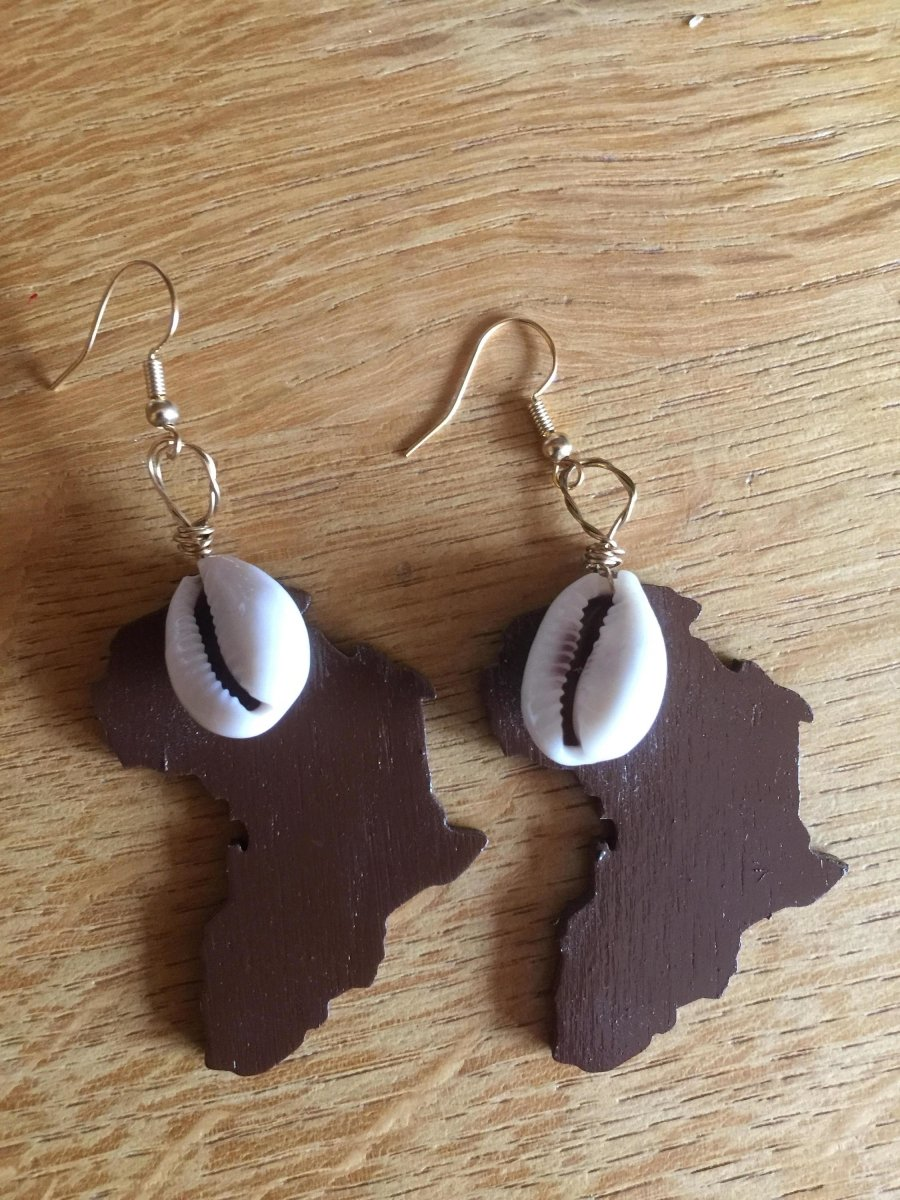Africa Earrings with Cowrie Shell Made with Recycled Wood - The Continent Clothing