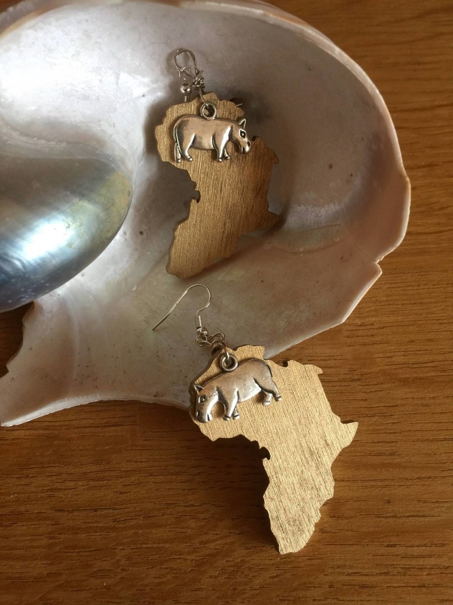 Africa Earrings with Hippo Charm made with Recycled Wood - Continent Clothing