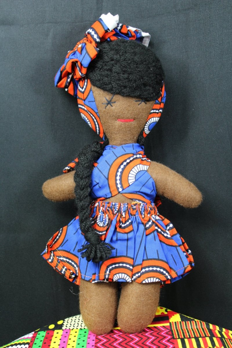 African American Doll In Beautiful Blue Outfit - The Continent Clothing
