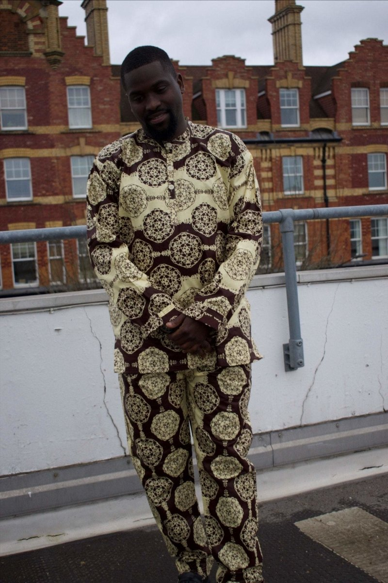 African Ankara Suit in Brown Print - Aztec Festival Outfit - The Continent Clothing