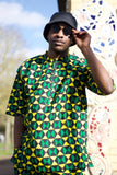 African Ankara Suit Short Sleeve in Green African Print - Festival Outfit - The Continent Clothing