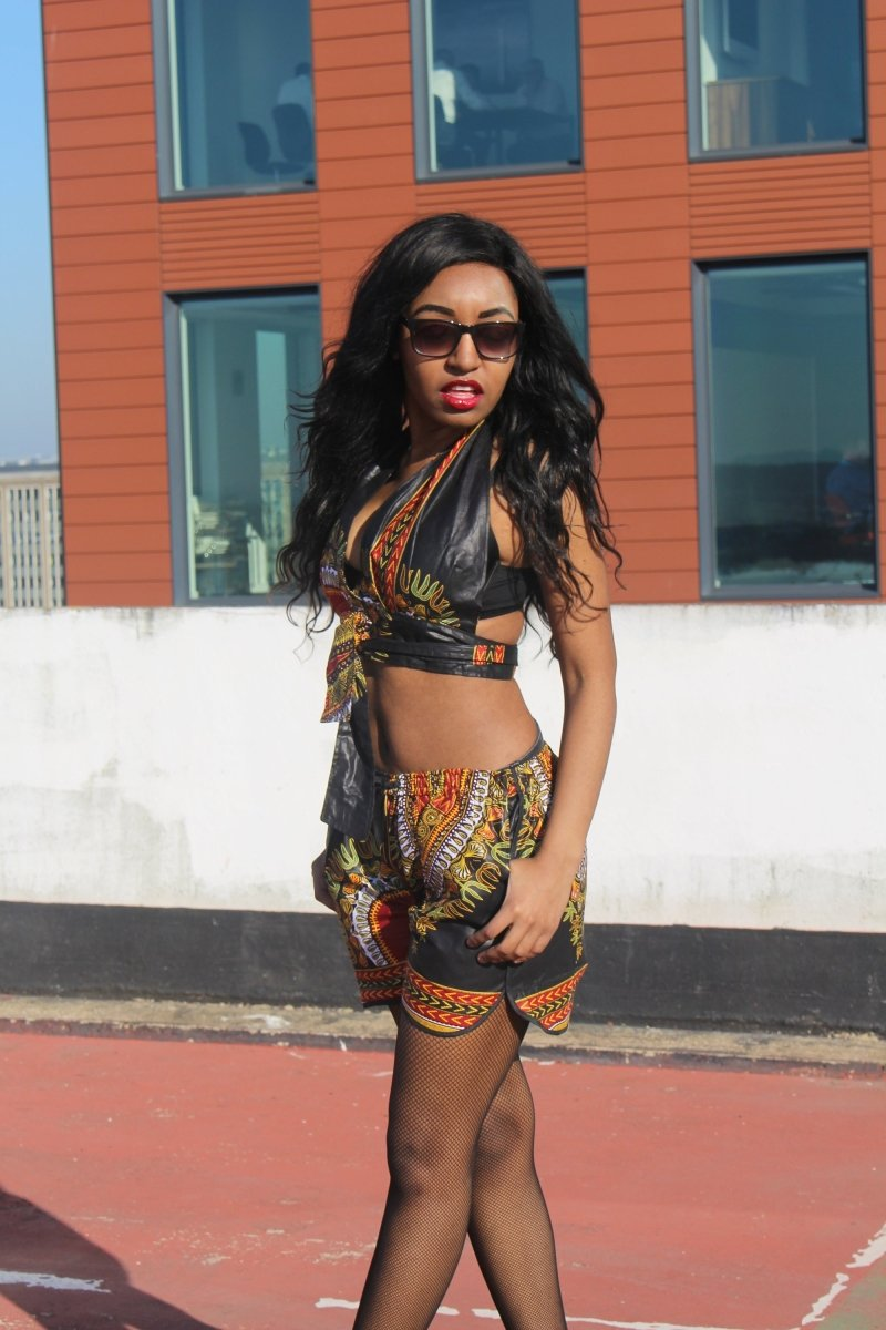 African Bikini in Black Dashiki Print - Festival Clothing - Continent Clothing