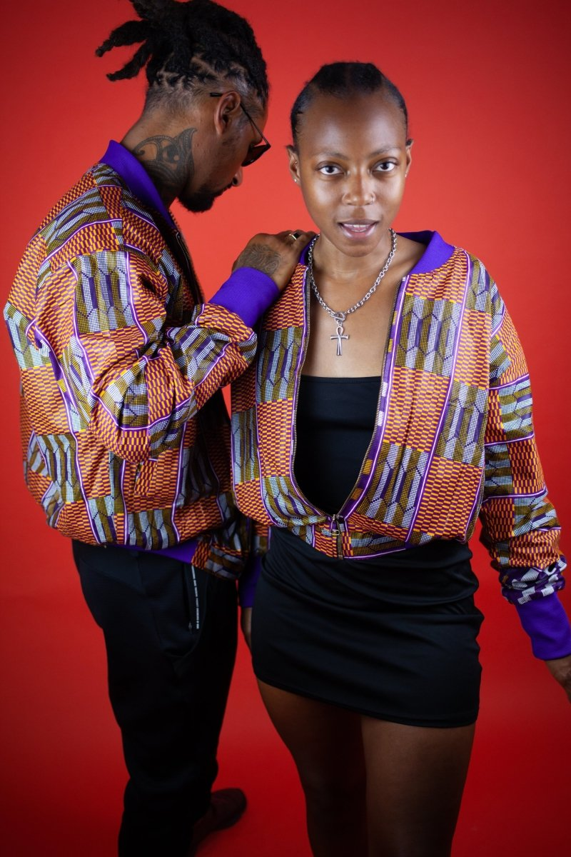 African Bomber Jacket In Beautiful Brown Kente Print - Continent Clothing
