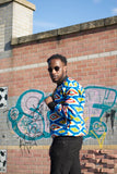 African Bomber Jacket In Blue Kente Print - The Continent Clothing