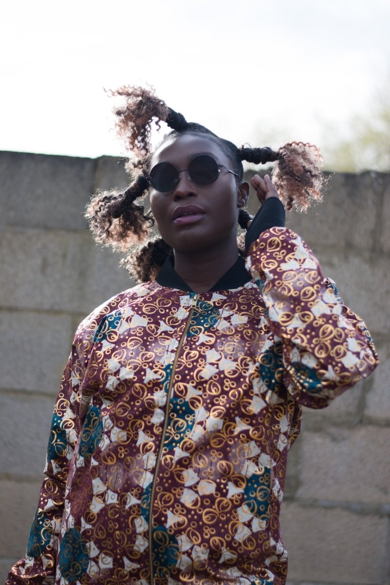 African Bomber Jacket in Brown Gold Ankara- Festival Clothing - Continent Clothing