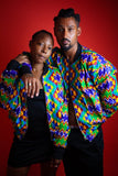 African Bomber Jacket In Electric Blue Kente Print - Continent Clothing