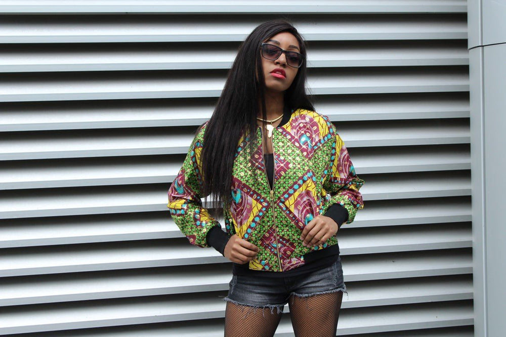 African Bomber Jacket in Gold African Print - Continent Clothing