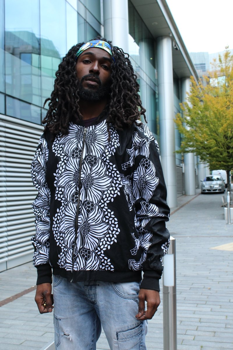 African Bomber Jacket In Jet Black - Continent Clothing