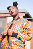 African Bomber Jacket in Orange Gold Ankara- Festival Clothing - Continent Clothing
