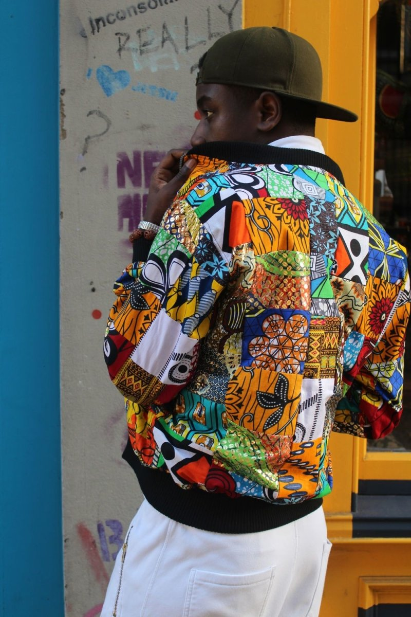 African Bomber jacket in Patchwork - Festival Clothing - The Continent Clothing