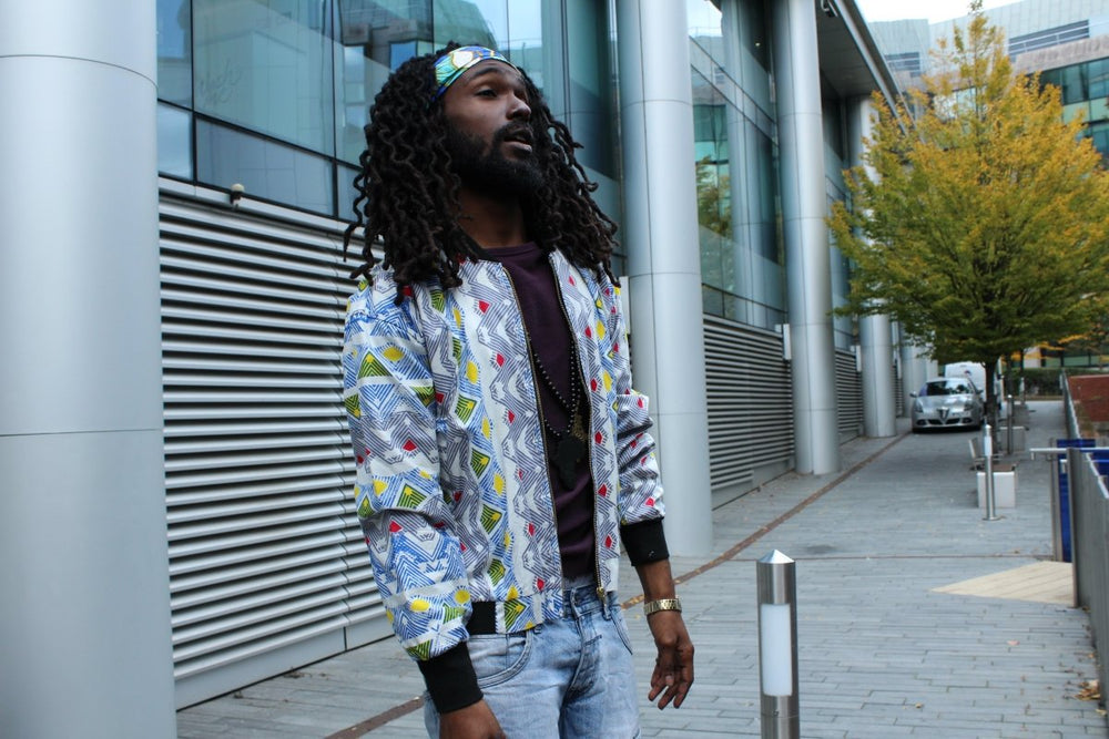 African Bomber Jacket In Scribble Print - Continent Clothing