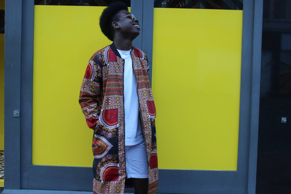 African Coat in Black Dashiki the perfect Summer Coat - The Continent Clothing