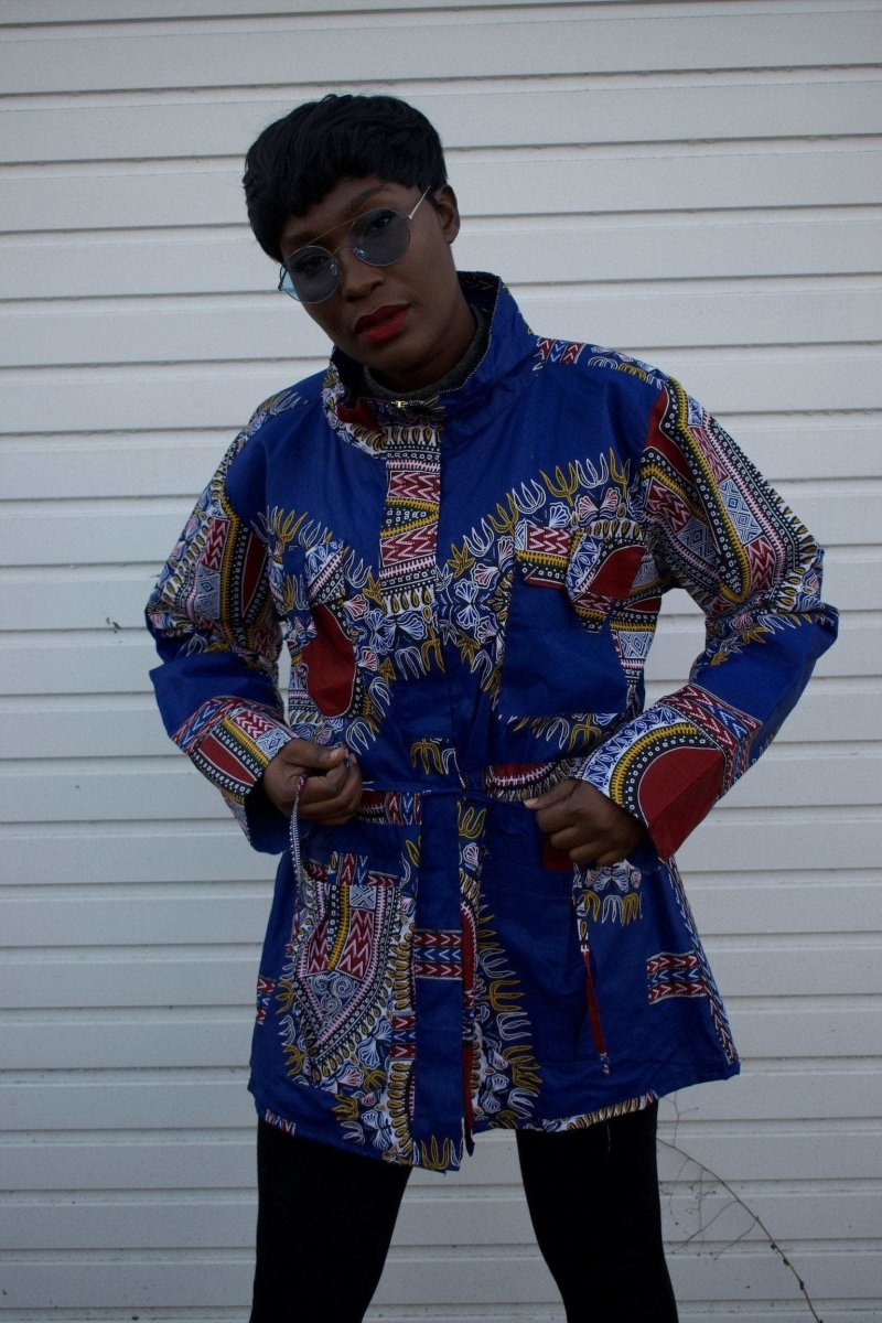 African Coat in Blue Dashiki - African Winter Coat - The Continent Clothing