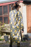 African Coat in Gold Blue Ankara Print - African Trench Coat - Festival Clothing - Continent Clothing