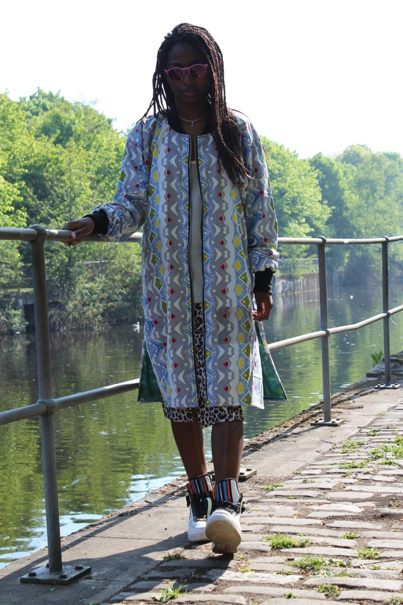 African Coat in White Ankara Print - Festival Clothing - Continent Clothing