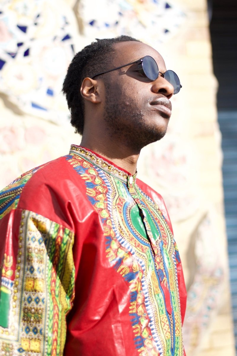 African Dashiki Suit in Red African Print - Festival Clothing - Continent Clothing