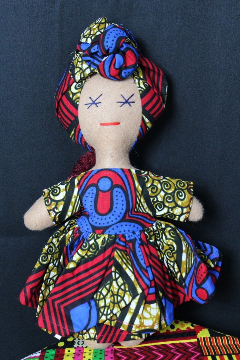 African Doll In Blue And Red - The Continent Clothing