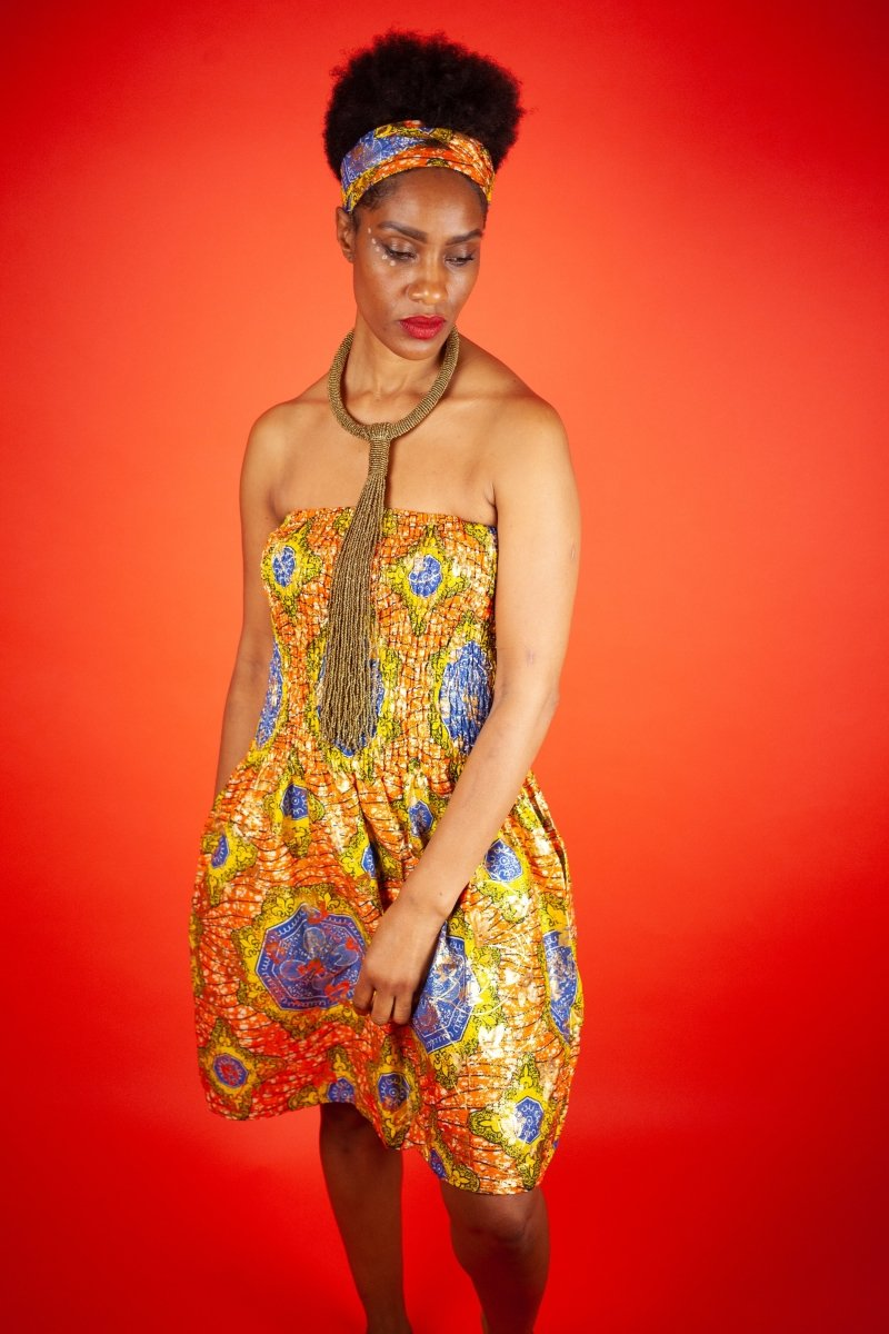 African Dress in Metallic Gold Print - The Continent Clothing