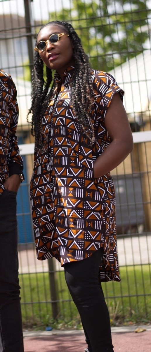 African Dress In Mud Cloth Print - The Continent Clothing