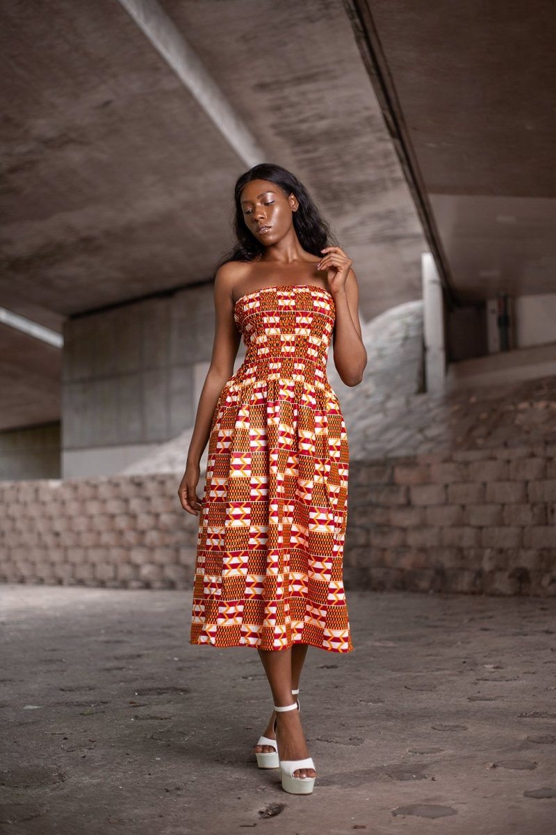African Dress in Orange Ankara Print - Continent Clothing