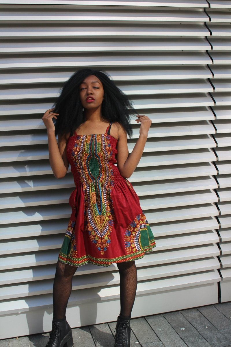 African Dress in Red Dashiki Print - Festival Dress - Continent Clothing