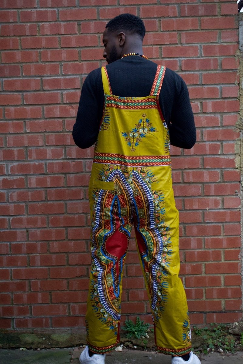 African Dungarees in Brown Dashiki Print - Festival Dungarees - Continent Clothing