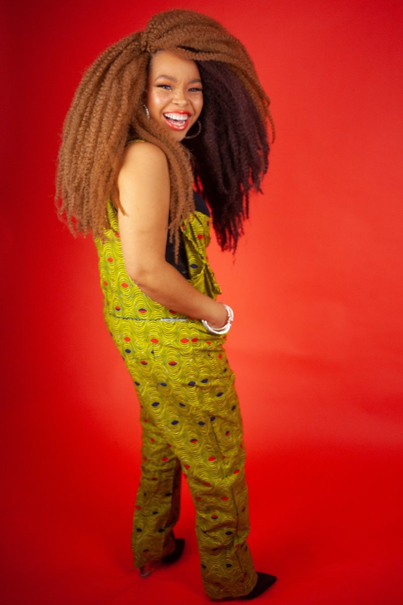 African Dungarees in Yellow Optical - Continent Clothing