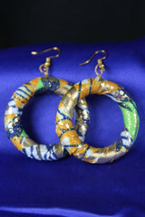 African Earrings In Blue Gold - Continent Clothing