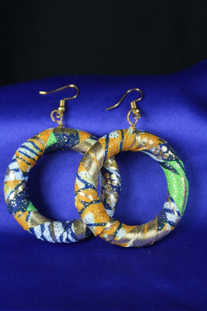 African Earrings In Blue Gold - The Continent Clothing
