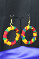 African Earrings In Orange Kente - Continent Clothing